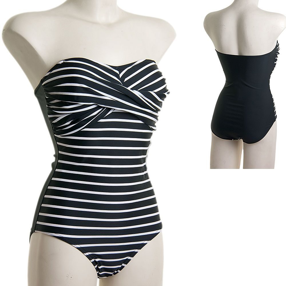 Beachcomber Black and White Striped Strapless Swimsuit