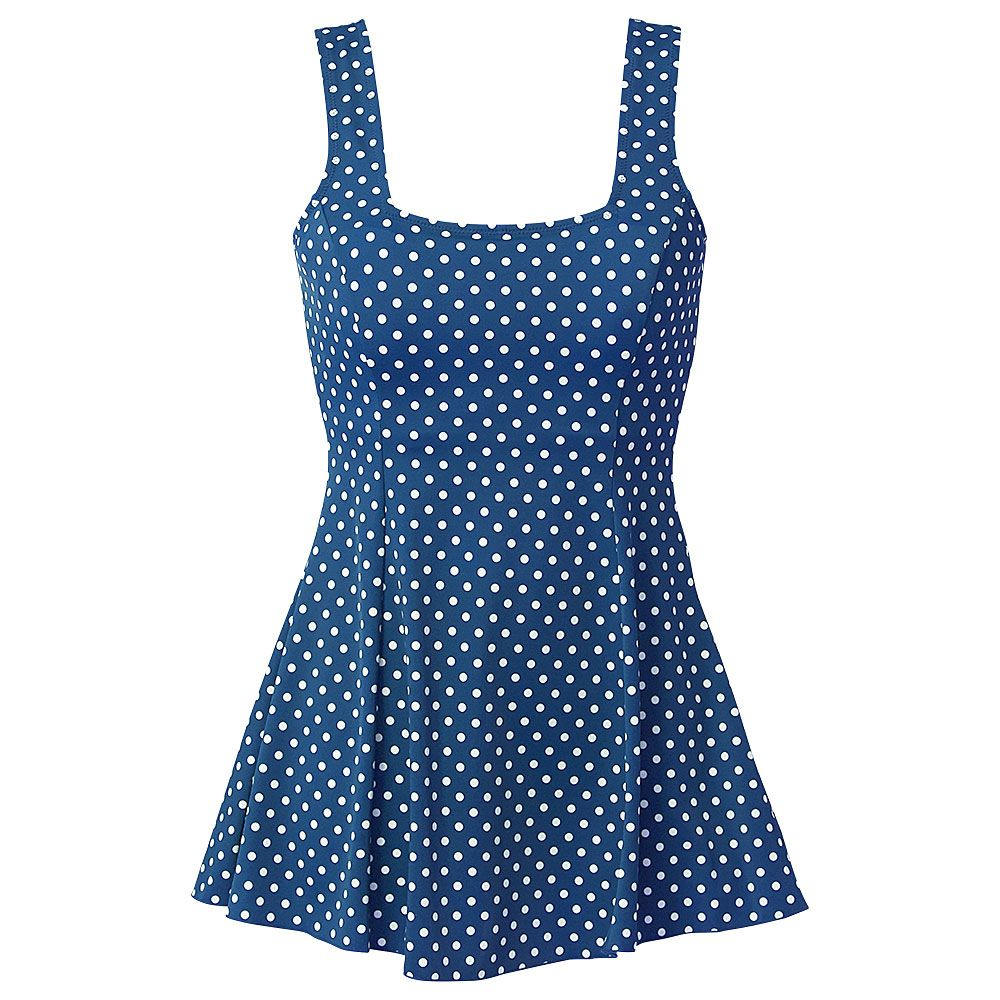 Beachcomber Dotty Fluted Skirted Swimdress - Blue